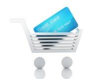 Warenkorb des Kredites 3d Fahrwerkbeine und Frauenbeutel auf weißem Hintergrund Lizenzfreie Stockfotografie