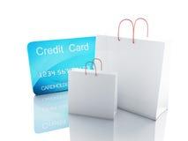 Warenkorb des Kredites 3d Fahrwerkbeine und Frauenbeutel auf weißem Hintergrund Lizenzfreies Stockfoto