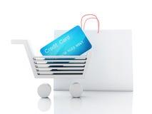 Warenkorb des Kredites 3d Fahrwerkbeine und Frauenbeutel auf weißem Hintergrund Stockfotos