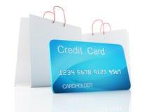 Warenkorb des Kredites 3d Fahrwerkbeine und Frauenbeutel auf weißem Hintergrund Stockfoto