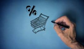 Warenkorb gefüllt mit Prozentsatz Lizenzfreie Stockfotografie
