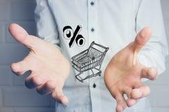 Warenkorb gefüllt mit Prozentsatz Lizenzfreie Stockfotos