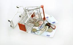 Warenkorb mit Euro am 18. September 2016 Stockfotos