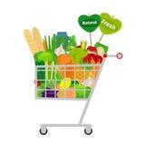 Warenkorb mit Lebensmittel stock abbildung