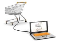 Warenkorb und Laptop (Beschneidungspfad eingeschlossen) Lizenzfreie Abbildung