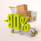 Warenkorb und 90 Prozent Stockbild