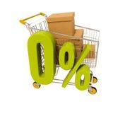 Warenkorb und 0 Prozent lokalisiert auf Weiß Lizenzfreies Stockbild