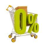 Warenkorb und 0 Prozent lokalisiert auf Weiß Stockfotos
