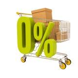 Warenkorb und 0 Prozent lokalisiert auf Weiß Stockbild