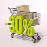 Warenkorb und Prozentsatzzeichen, 30 Prozent Stockfotografie