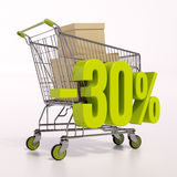 Warenkorb und Prozentsatzzeichen, 30 Prozent Lizenzfreie Stockbilder