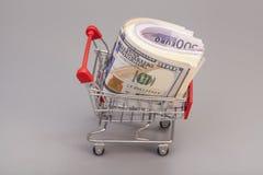 Warenkorb voll des Geldes (Dollar, Euro) lokalisiert Stockfotografie