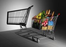 Warenkorb voll des Lebensmittel-Form-Schattens auf der Wand als leerem Warenkorb lizenzfreie abbildung