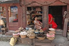 Wares being displayed outside a Kathmandu shop Royalty Free Stock Images