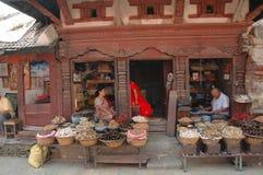 Wares being displayed outside a Kathmandu shop Stock Photos