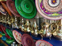 Wares for sale in Moroccan souk Stock Image