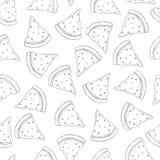 Waretmelon slices seamless pattern in black and white stock illustration