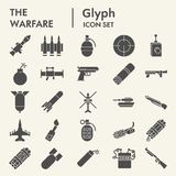 Warfare glyph icon set, weapon symbols collection, vector sketches, logo illustrations, arms signs solid pictograms. Package isolated on white background, eps vector illustration