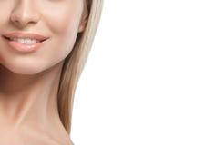 Warg ramion podbródka nosa uśmiechu Pięknej kobiety portreta twarzy blond studio Zdjęcia Stock
