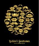 Wargi i wąsa złota set royalty ilustracja