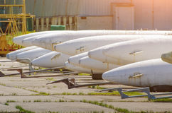Warhead missiles, in the ammunition depot for aircraft. Stock Image