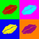 Warhol lips. 4 pair of lips on very colorful background Royalty Free Stock Photo