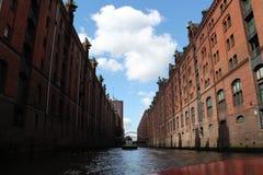 Warhouse område Hamburg Royaltyfria Bilder
