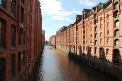 Warhouse område Hamburg Royaltyfri Foto