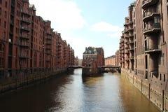 Warhouse område Hamburg Arkivfoto