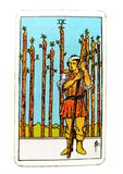 9 Nine of Wands Tarot Card Wariness Anxious Guarded,Wounded On The Look Out Expecting Trouble On Guard On Duty 'Old Soldier' royalty free illustration