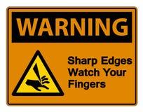 Waring Sharp Edges Watch Your Fingers Symbol Sign Isolate On White Background,Vector Illustration. Accident, activation, alarm, alert, area, avoid, bandage royalty free illustration