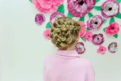 Warkocz fryzura, popielaty Brown długie włosy Obrazy Royalty Free