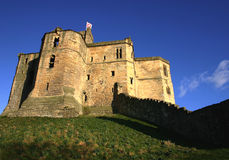 Warkworth castle. Castle at Warkworth Northumberland UK showing defensive walls stock image