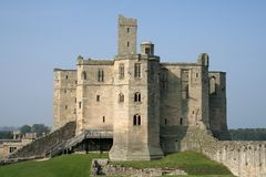 Warkworth Castle. Full of history this beautiful castle has seen many battles take place at her feet Stock Images