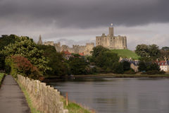 Warkworth Castle. From the banks of the river Aln stock photography