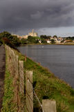 Warkworth Castle. From the banks of the river Aln stock image