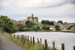 Warkworth Castle. Viewed from the road between Warkworth and Amble Royalty Free Stock Image