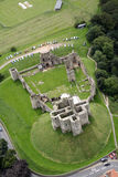 Warkworth Castle from the air Royalty Free Stock Photo