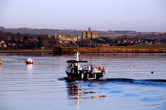 Warkworth Castle and boat Royalty Free Stock Photos