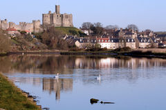 Warkworth Castle and boat Stock Image