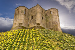 Warkworth Castle in the sky Royalty Free Stock Photo