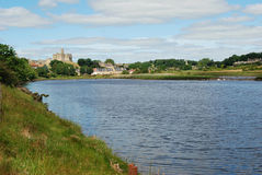 Warkworth Castle and Wark on river Aln Royalty Free Stock Photo