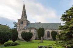 WARKWORTH NORTHUMBERLAND/UK - 14 DE AGOSTO: Iglesia de St Lawrence foto de archivo