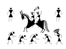 Warli Art Tribal Art black vector Stock Image
