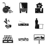 Warlike icons set, simple style. Warlike icons set. Simple set of 9 warlike vector icons for web isolated on white background Royalty Free Stock Images