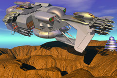 Warlike Spaceship. Digital Composition of Fantastic Realism, 3D rendered, with Post Production (ended, adjustments of colors and contrasts) by means of Edition stock illustration