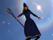 Warlock. A warlock casts a spell during a starry night Stock Photos