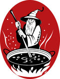 Warlock cooking his magic brew. Vector illustration of a warlock or wizard stirring up his boiling pot brew royalty free illustration