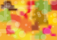 Warm abstract background. Colorful, red, pink, yellow, brown and green with white circles and rectangles vector illustration