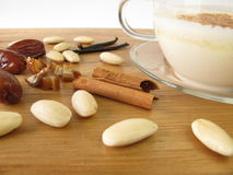 Warm almond milk with spices Stock Photos